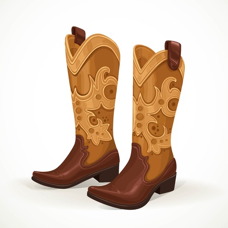 Embroidered cowboy boots isolated on white background