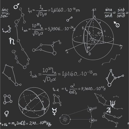 Seamless pattern of the formulas on the astronomy on blackboard Ilustração