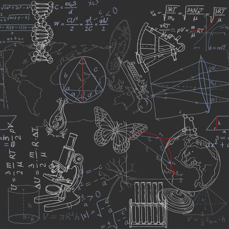 a solution tube: Seamless pattern of the formulas and doodles school subjects on blackboard