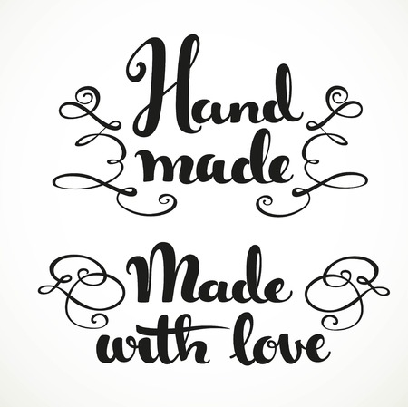 hand made: Made with love and hand made calligraphic inscription on a white background