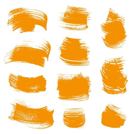 smears: Orange gouache  smears set isolated on a white background Illustration