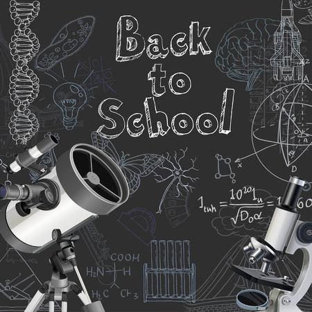 telescope: Back to school doodles on blackboard background