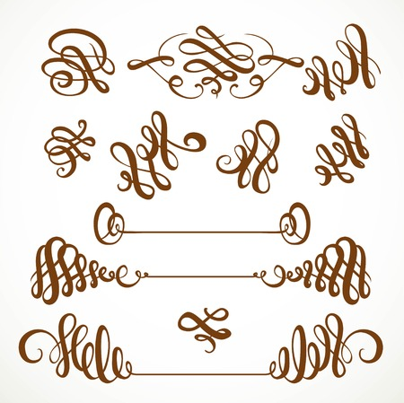 Calligraphic vintage elegant curls elements set 1 isolated on a white background