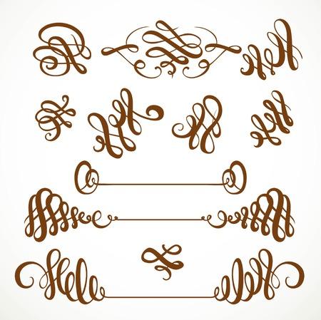 Kalligrafische vintage sierlijke krullen elementen set 1 geïsoleerd op een witte achtergrond