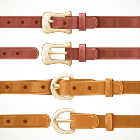 Leather belts with buckles buttoned and unbuttoned variants isolated on white background