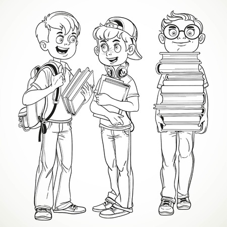 schoolboys: Schoolboys with textbooks and backpacks talk line drawing isolated on a white background