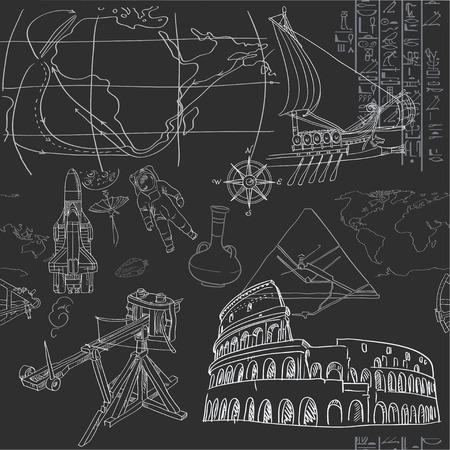 era: Seamless pattern of the doodles historic events isolated on blackboard Illustration