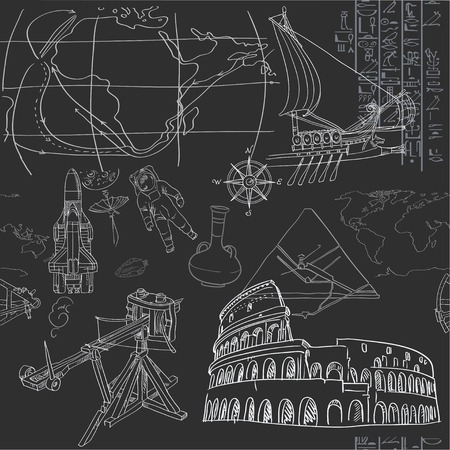 Seamless pattern of the doodles historic events isolated on blackboard Illustration