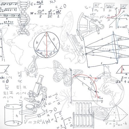 astronomie: Nahtloses Muster der Formeln und Gekritzel Schulfächer isoliert auf weißem Hintergrund