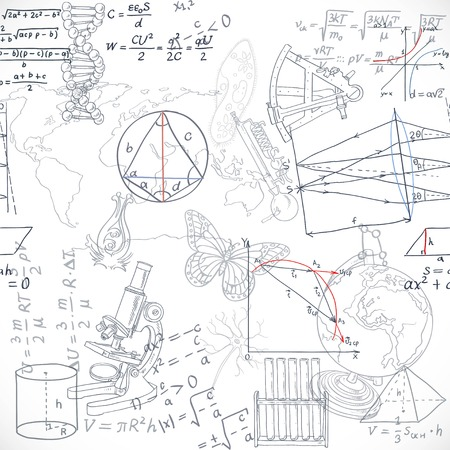 white board: Seamless pattern of the formulas and doodles school subjects isolated on white background
