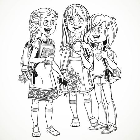 socialize: Three cute schoolgirl with a schoolbag socialize linear drawing on a white background Illustration