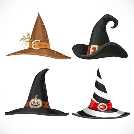 sombrero de mago: Sombrero de la bruja con correas y hebillas aislado en fondo blanco