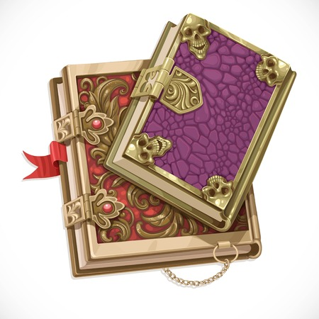 Antique books on witchcraft clasps top view isolated on white background Illustration