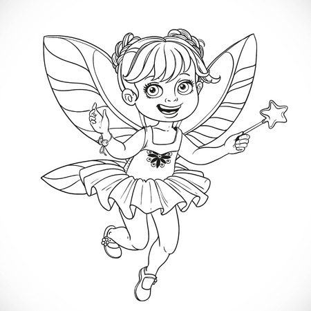girl magic wand: Cute little fairy girl with a Magic wand  outlined isolated on a white background