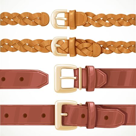 Leather belts with buckles buttoned and unbuttoned variants isolated on white background set 1