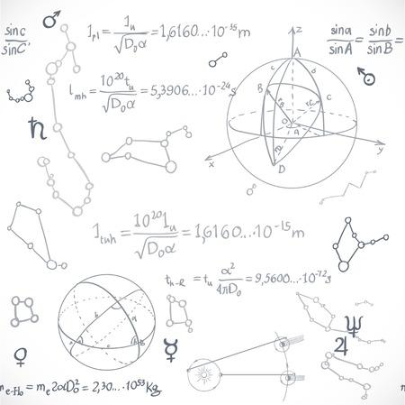 astronomie: Nahtloses Muster der Formeln auf dem Astronomie isoliert auf weißem Hintergrund