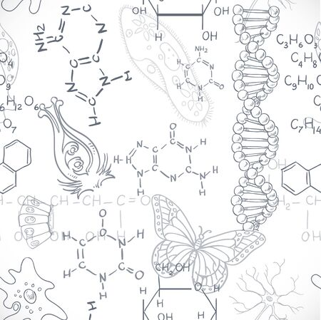 sciences: Seamless pattern of the formulas on the biology of doodles isolated on white background