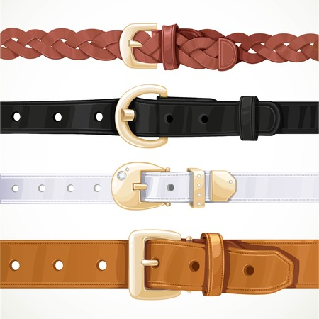 Set of multicolored buttoned to buckle belts isolated on white background Ilustração