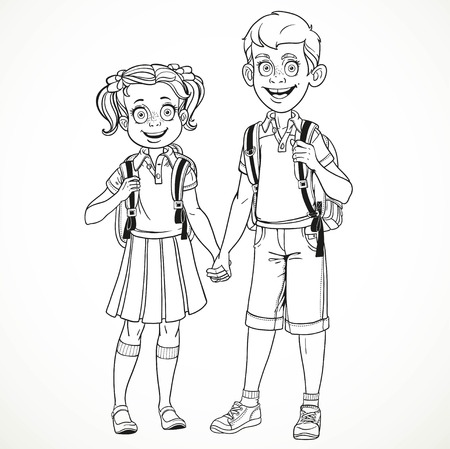 young schoolchild: Boy and girl with a school bag holding hands line drawing isolated on a white background