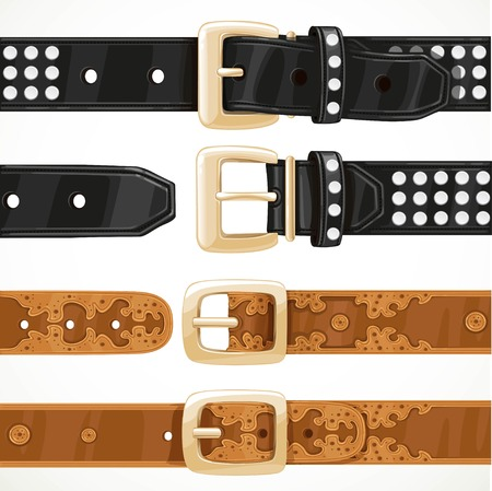 unbuttoned: Leather belts with rivets and embroidery buttoned and unbuttoned isolated on white background Illustration