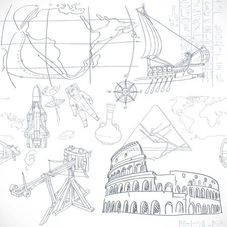 renaissance: Seamless pattern of the doodles historic events isolated on white background