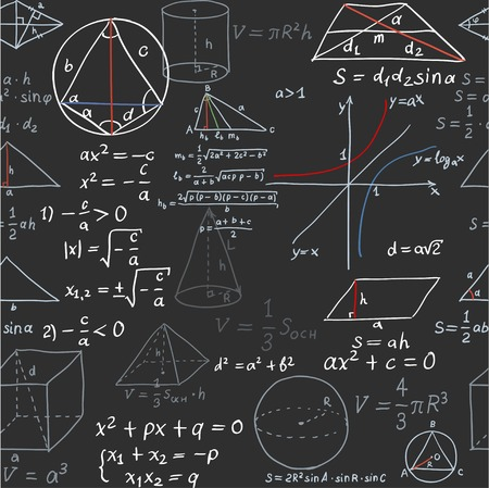 complex: Seamless pattern of the formulas on the geometry isolated on blackboard