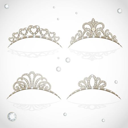object complement: Elegant shiny tiara with precious stones isolated on white background