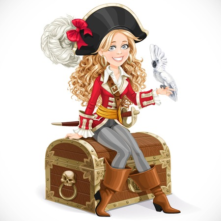 Cute pirate girl with parrot sit on big chest isolated on a white background Stock Illustratie