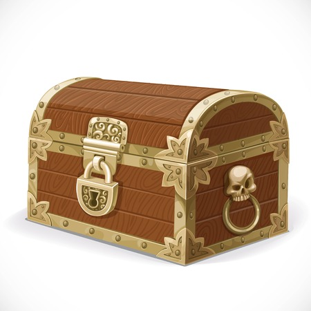 is closed: Pirates chest isolated on a white background