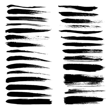dry brush: Big set of long texture of dry brush strokes of black paint