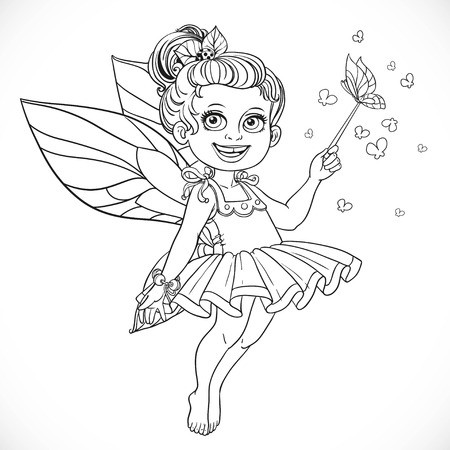 enchantment: Cute little summer fairy girl with a Magic wand outline isolated on a white background