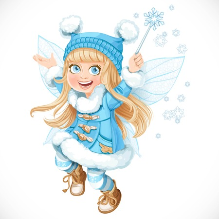 fairy cartoon: Cute little winter fairy girl in a blue coat with a Magic wand isolated on a white background