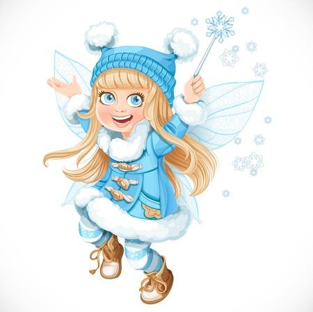 hadas caricatura: Niña linda hada del invierno con un abrigo azul con una varita mágica aislado en un fondo blanco