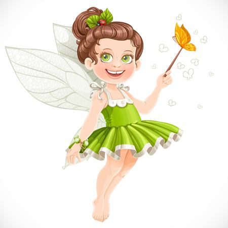 fairy tale princess: Cute little summer fairy girl with a Magic wand isolated on a white background Illustration