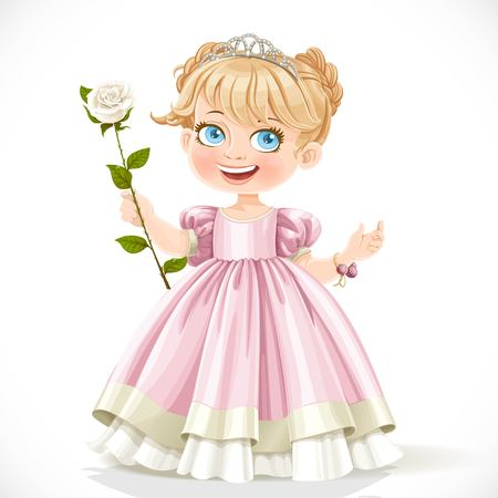 nude little girls: Little cute princess in tiara with beautiful white rose on a long stalk isolated on a white background