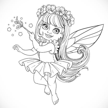 enchantment: Cute little spring fairy girl in tutu with Magic wand outline isolated on a white background