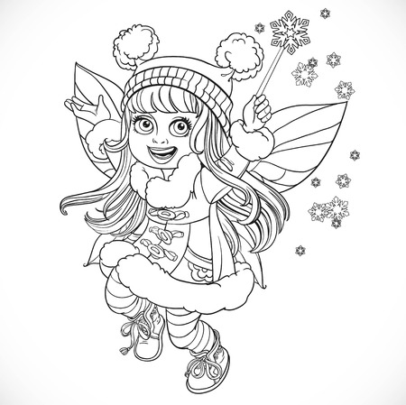 girl magic wand: Cute little winter fairy girl in a blue coat with a Magic wand outlined isolated on a white background Illustration