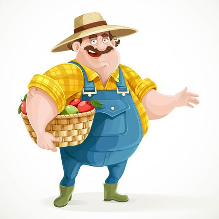 cartoon hat: Fat farmer in overalls holding a basket of apples and shows the side isolated on white background