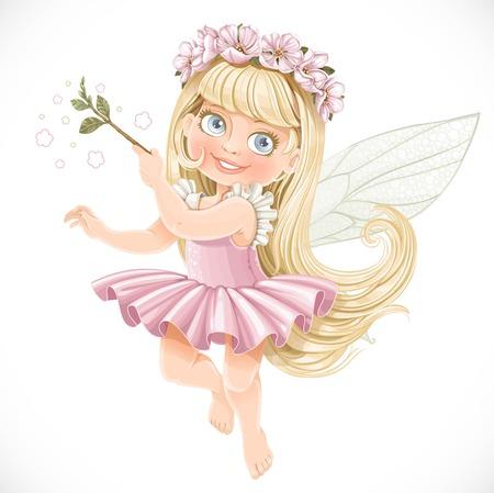 traje: Menina mola de fadas pequeno bonito em um tutu cor de rosa com uma varinha mágica isolada em um fundo branco