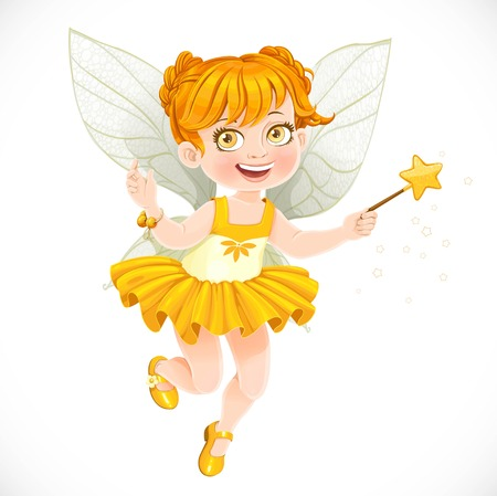 enchantment: Cute little autumn fairy girl with a Magic wand isolated on a white background