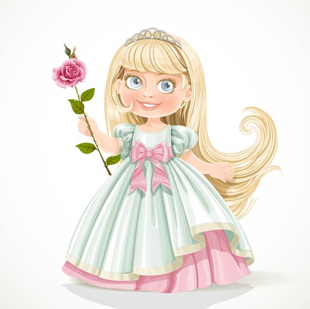 nude little girls: Cute little princess with long hair in tiara isolated on white background Illustration