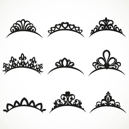 corona reina: Conjunto de siluetas de las tiaras de diversas formas sobre un fondo blanco 1
