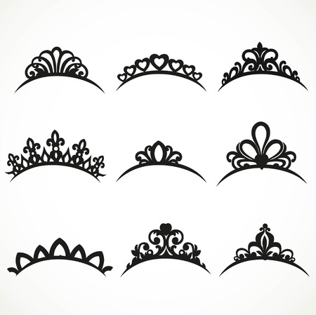 Set of silhouettes of tiaras of various shapes on a white background 1 Иллюстрация