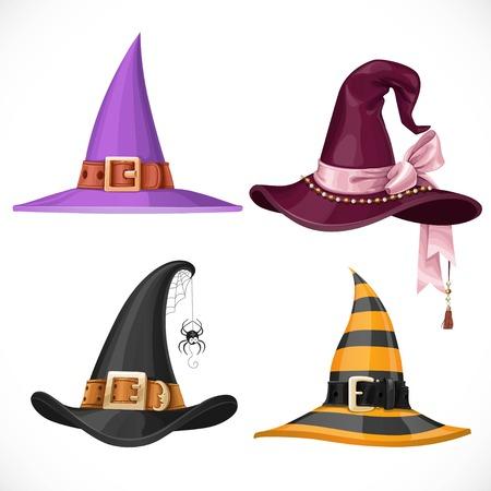 wizard hat: Bruja sombreros con correas y hebillas de conjunto aislado sobre fondo blanco