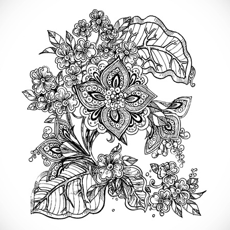 flower  hand: Black and white drawing fantasy flowers on small bush