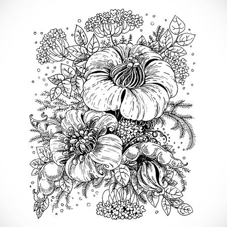advertising logo: Black and white drawing fantasy flower and leaves composition