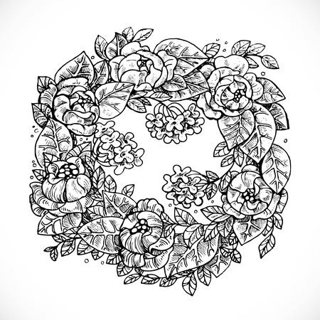 invented: Wreath of Flowers fantasy invented graphic drawing in ink on a white background