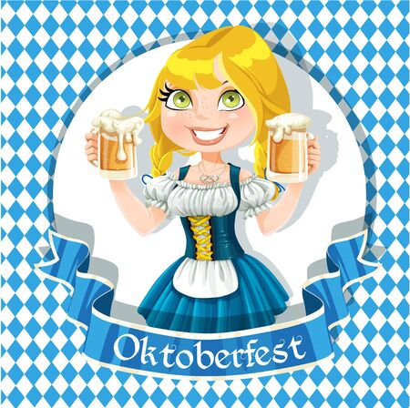 young girl nude: Pretty Blond girl with a glass of beer celebrating Oktoberfest banner