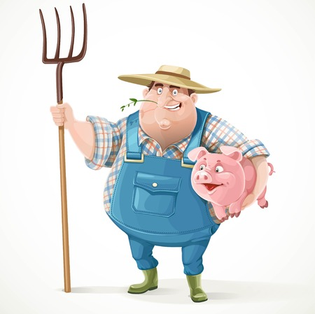 Thick old farmer in overalls and a straw hat holding a pitchfork and pig isolated on white background