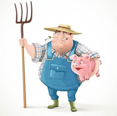 Vieux fermier épaisse en salopette et un chapeau de paille tenant une fourche et le cochon isolé sur fond blanc Vecteurs